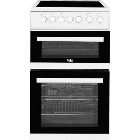 Click to view product details and reviews for Edvc503w 50cm Double Oven Electric Cooker With Ceramic Hob.