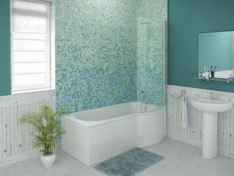 Trojan Concert 1675 Mm Right Hand P Shaped Whirlpool Shower Bath