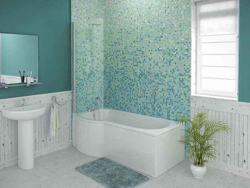 Concert 1675 mm Left Hand P Shaped Whirlpool Shower Bath