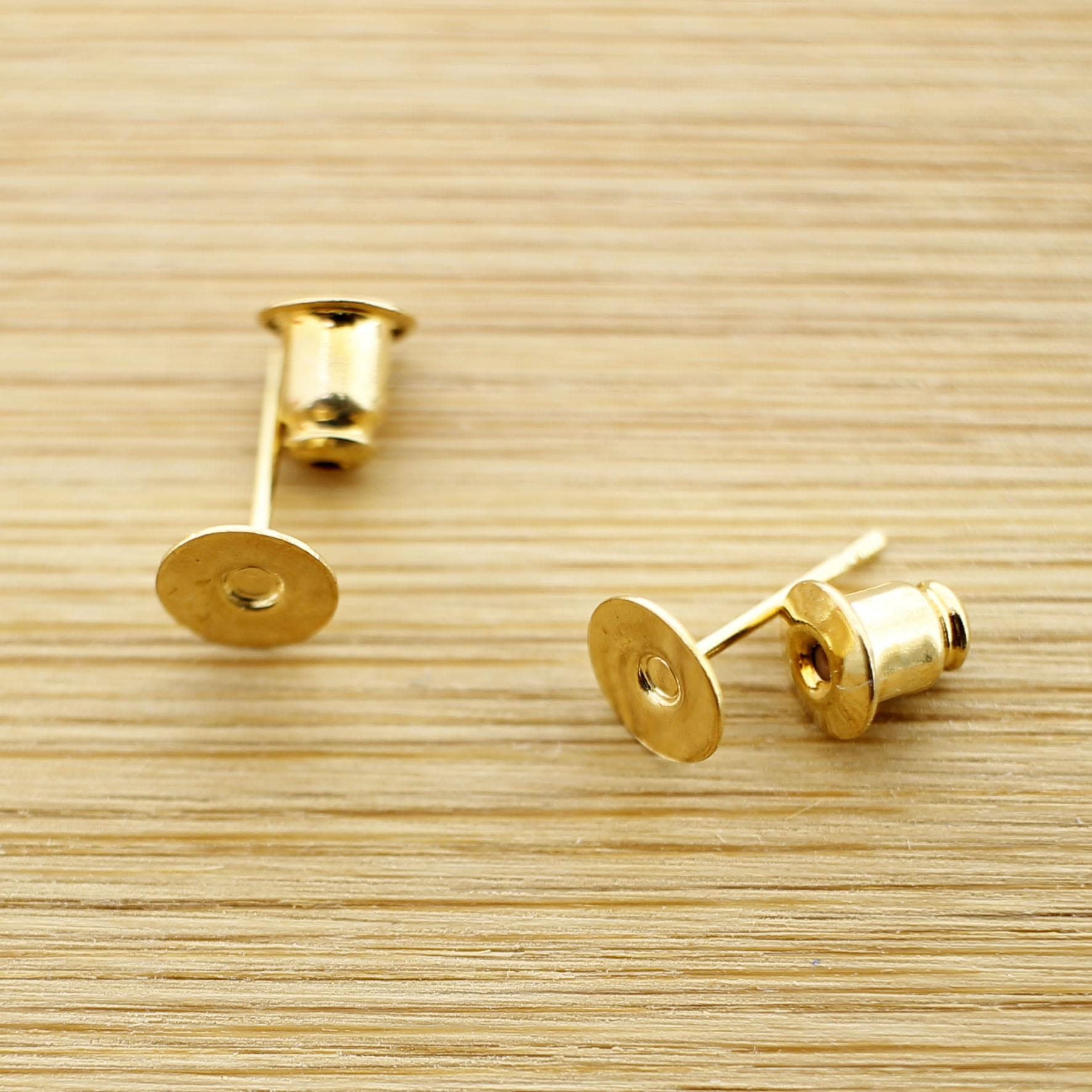 Stud Earrings Back And Front Findings Gold Plated 4