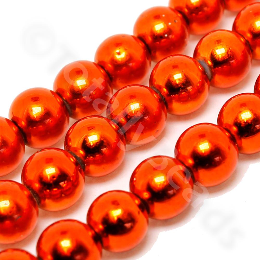 Metallic Gl Beads Round 8mm Burnt Orange Craft Hobby