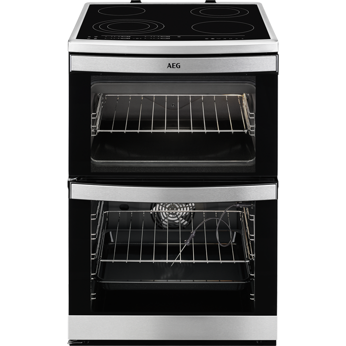 cooker aeg induction freestanding electric mn oven stainless steel double touch control competence cookers ceramic 60cm hob cm ovens cooking
