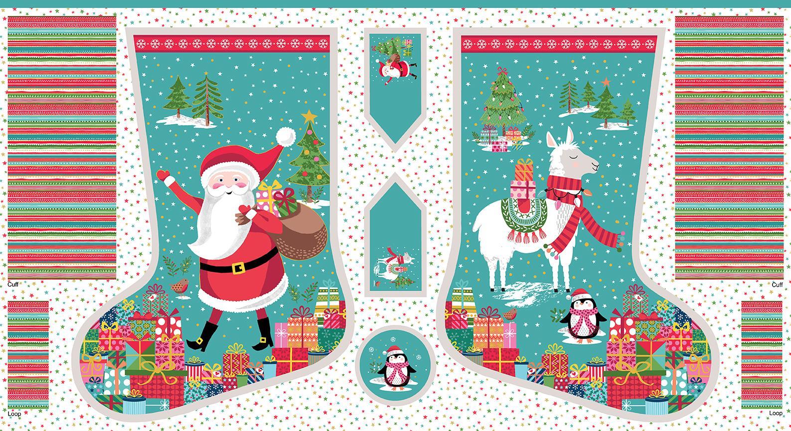 "New 100/% Cotton Fabric Panel  2 x Christmas Stockings W 44 x L 24/"""