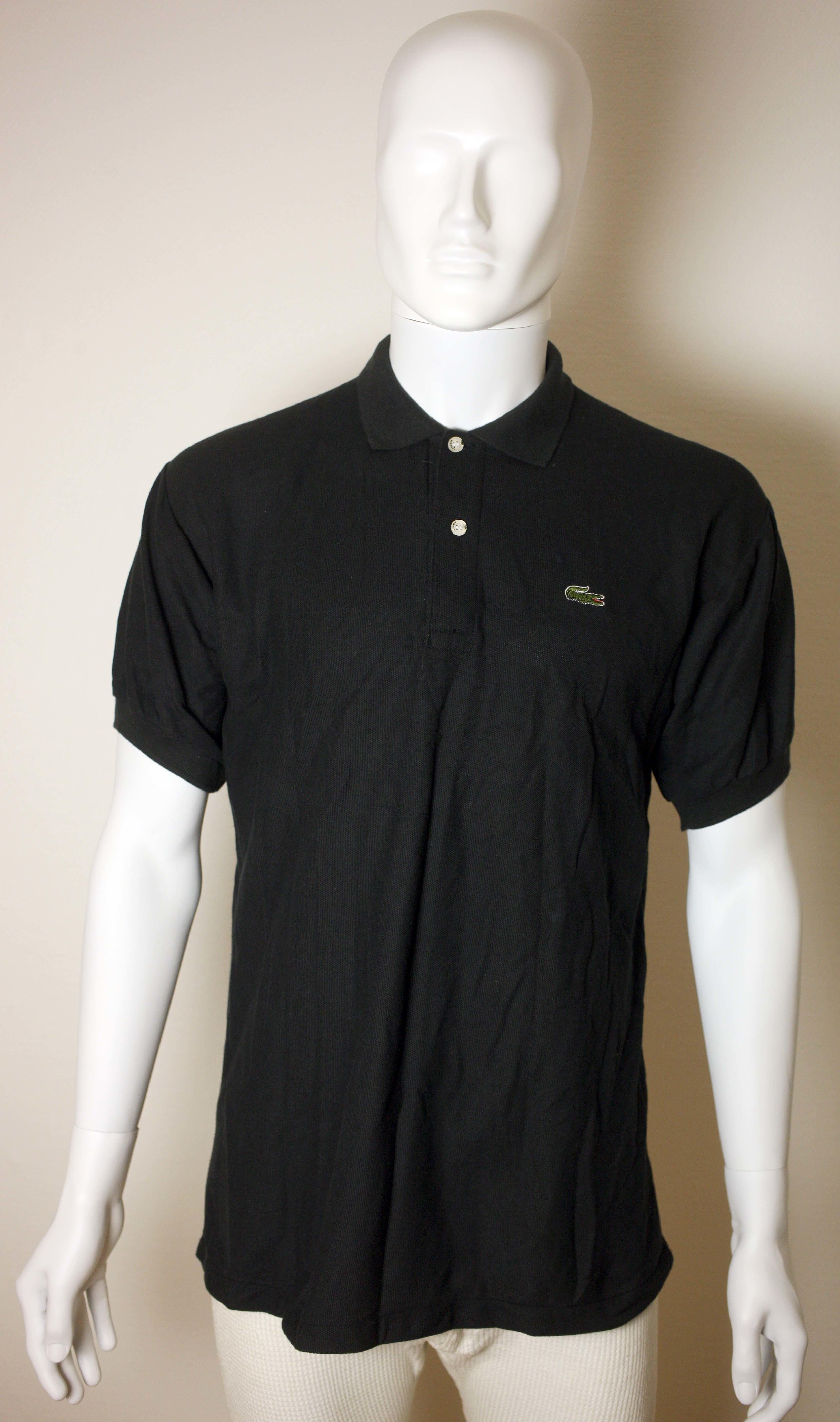 VINTAGE LACOSTE BLACK POLO SHIRT-SIZE XL-USED-NEEDS CLEANING-FREE POSTAGE EUROPE