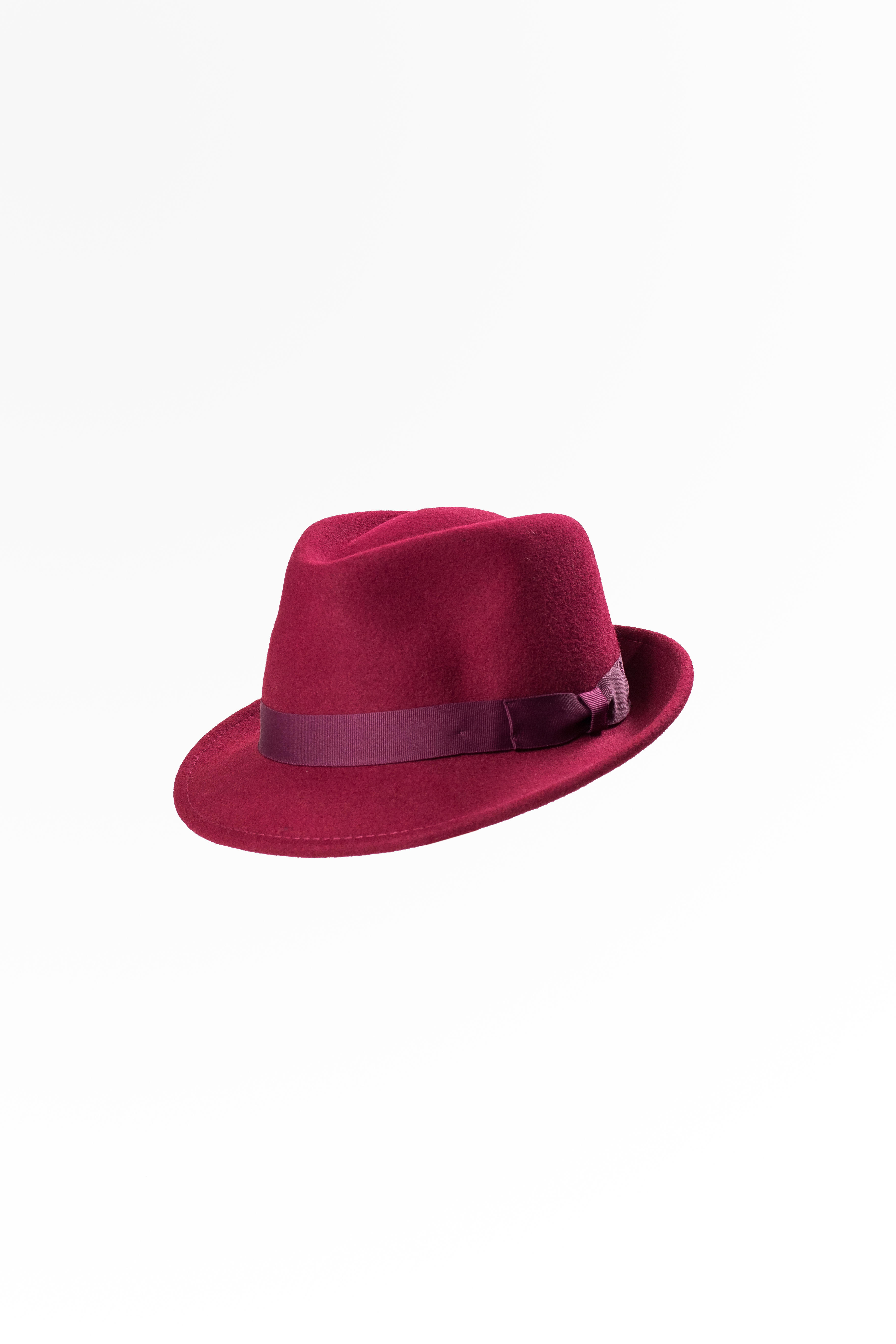 Wool Felt Trilby Hat Wine