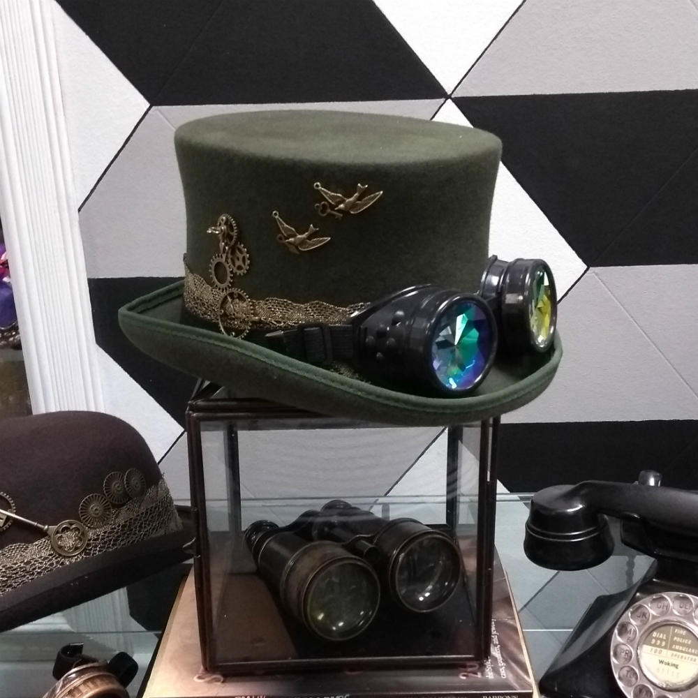 Steampunk Olive Green Dressed Top Hat