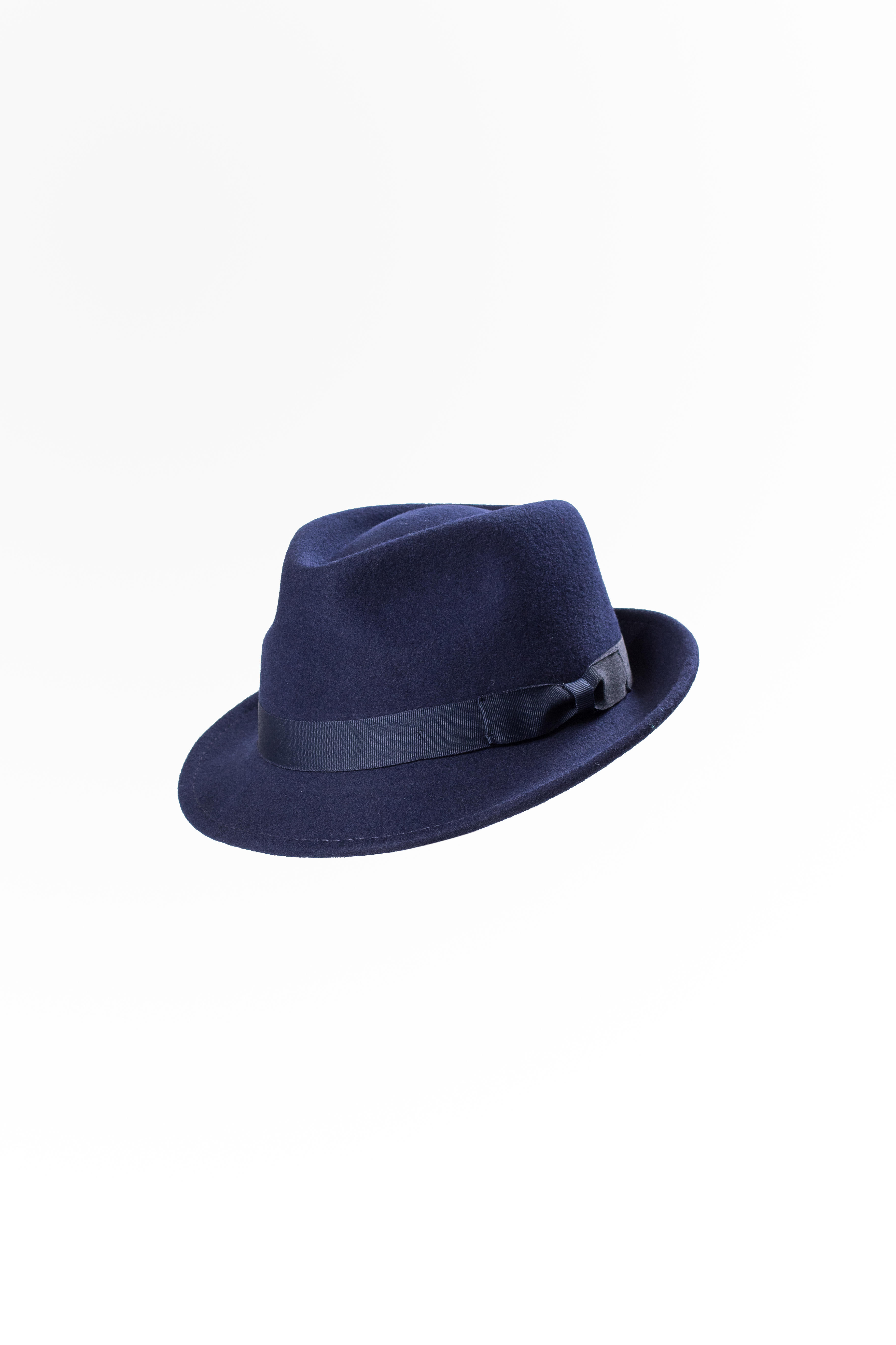 Wool Felt Trilby Hat Navy