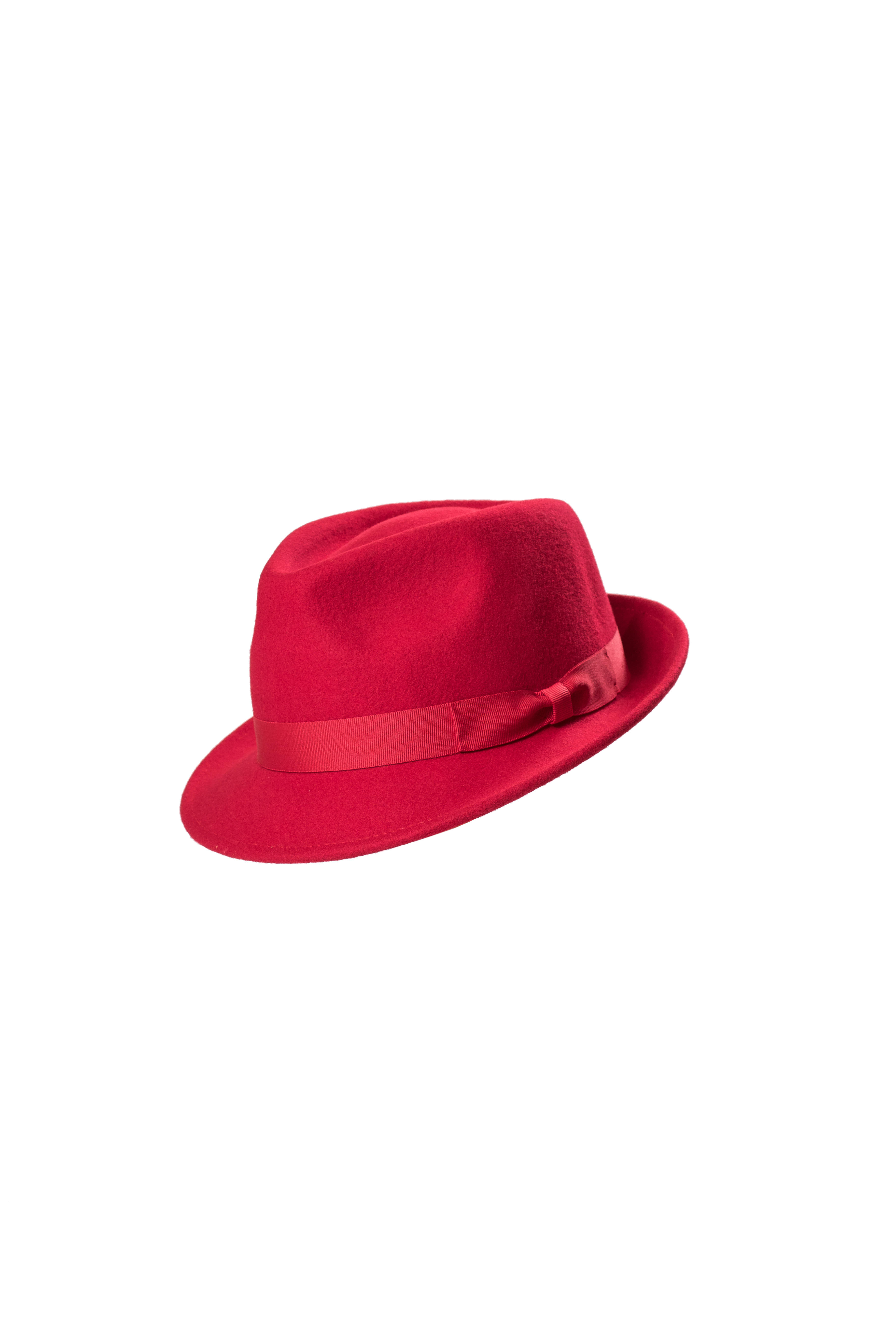 Wool Felt Trilby Hat Red