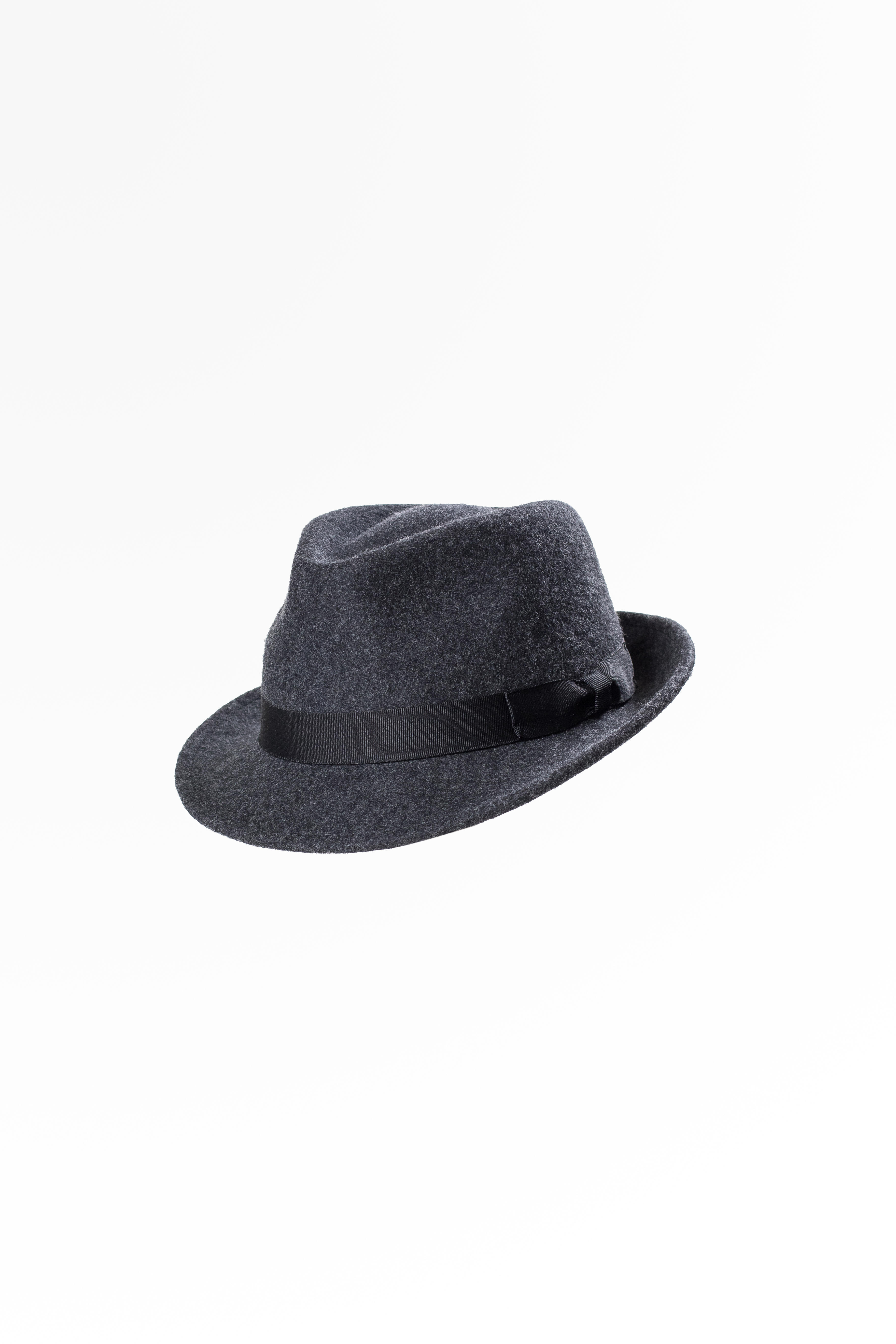 Wool Felt Trilby Hat Mix Charcoal