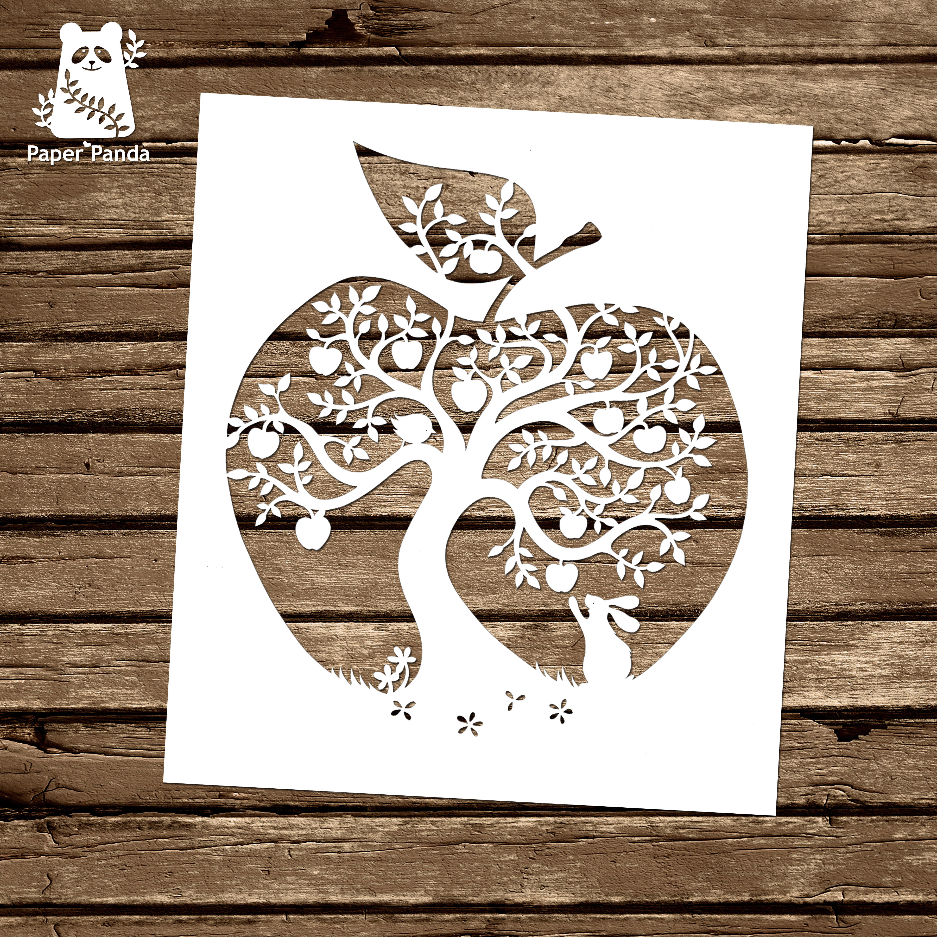 Papercut Diy Design Template Apple Tree Commercial