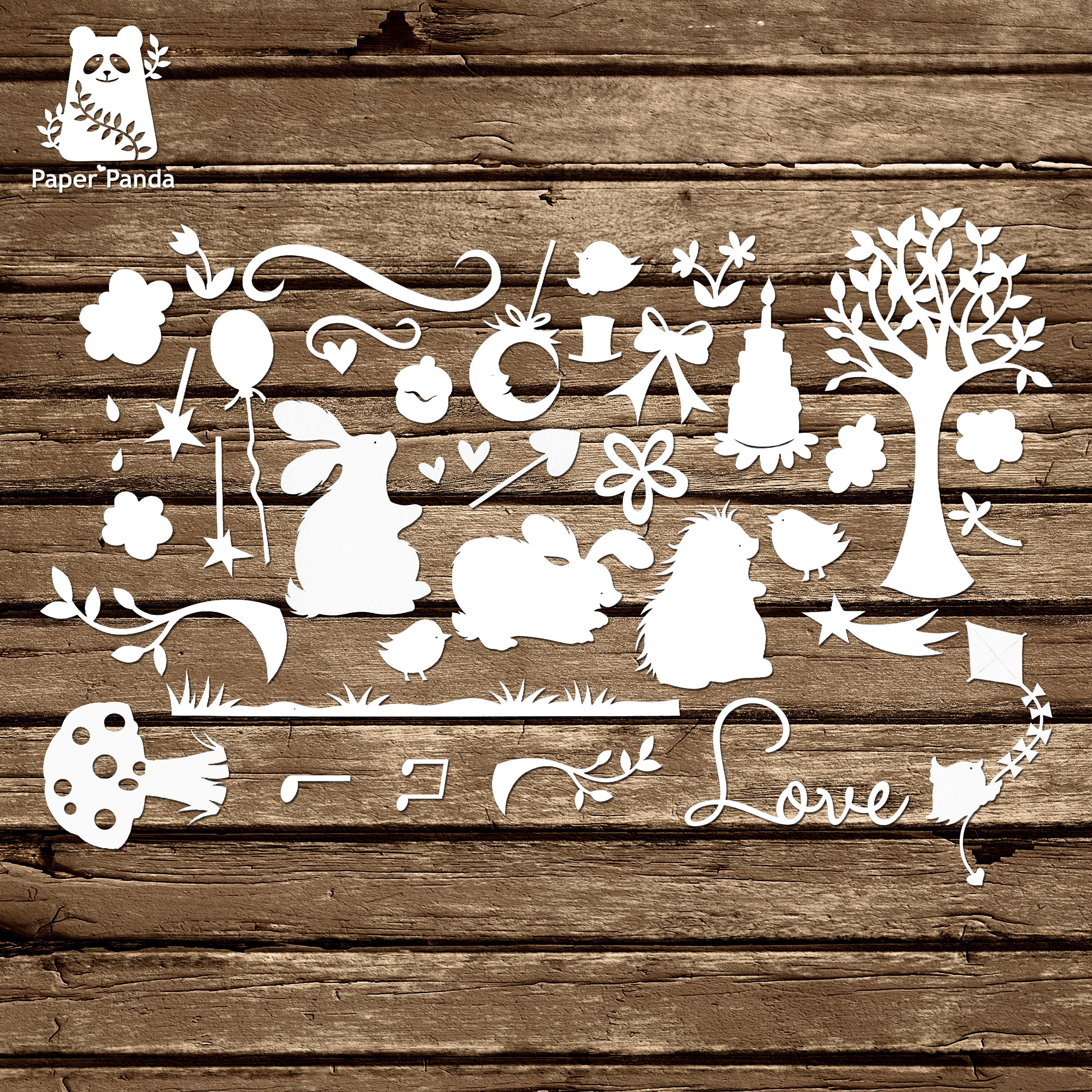 Papercut diy design template woodland elements personal use maxwellsz