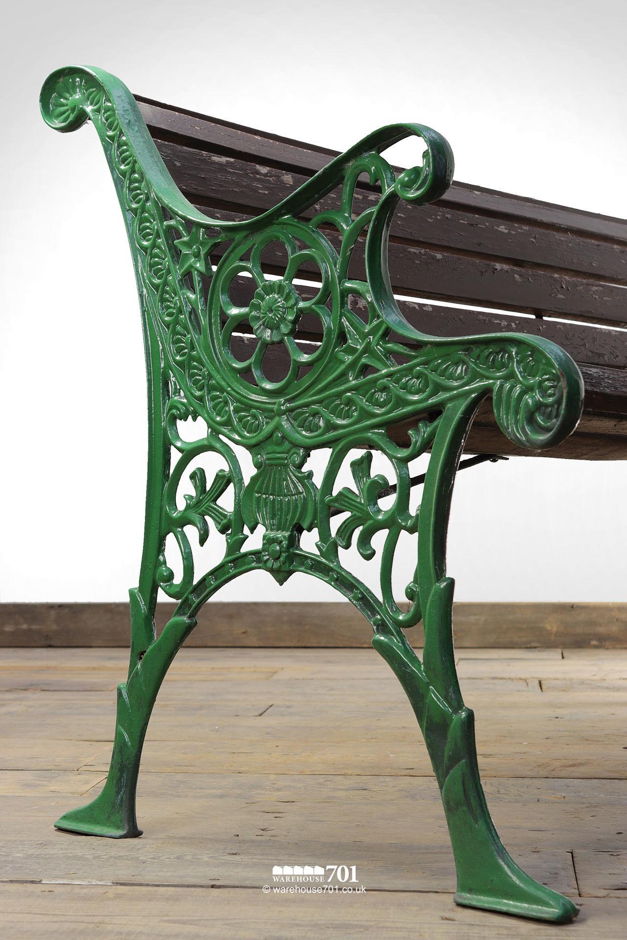 Vintage Green Cast Iron Ended Wood Slat Bench