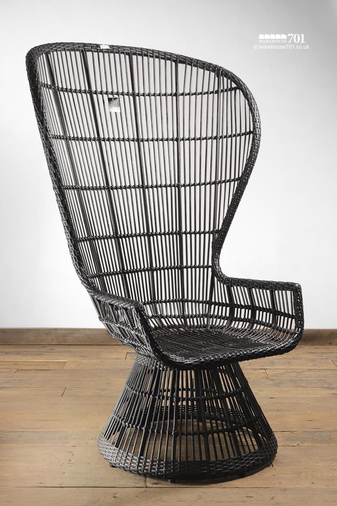 New Full Height Dark Wicker Or Rattan High Back Peacock Chair