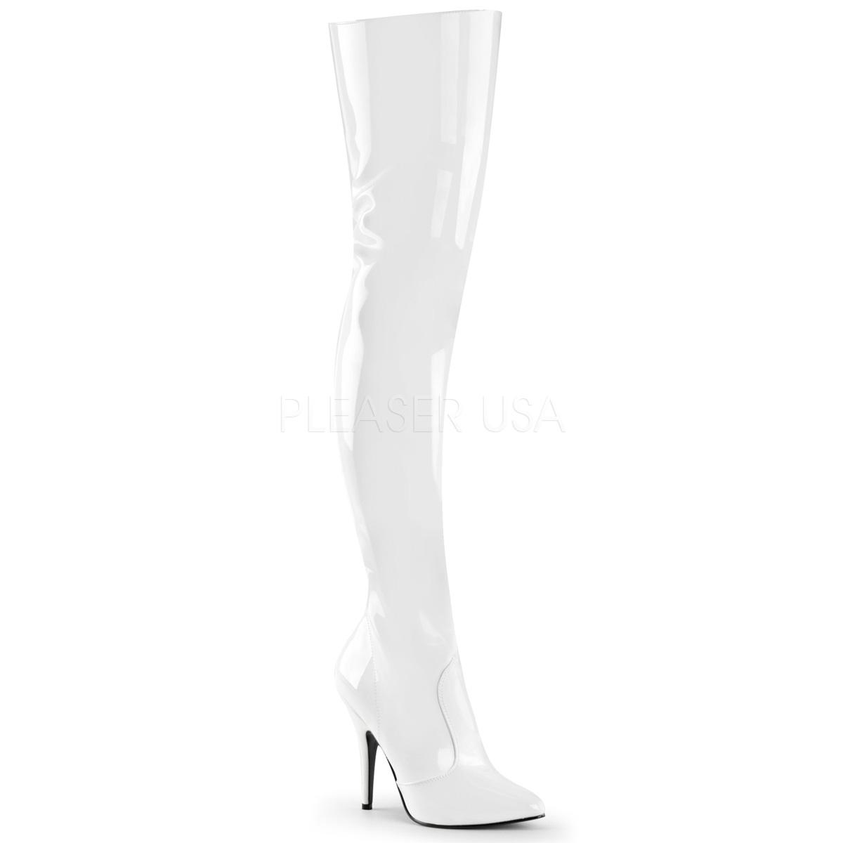 White Elasticated Thigh Boot