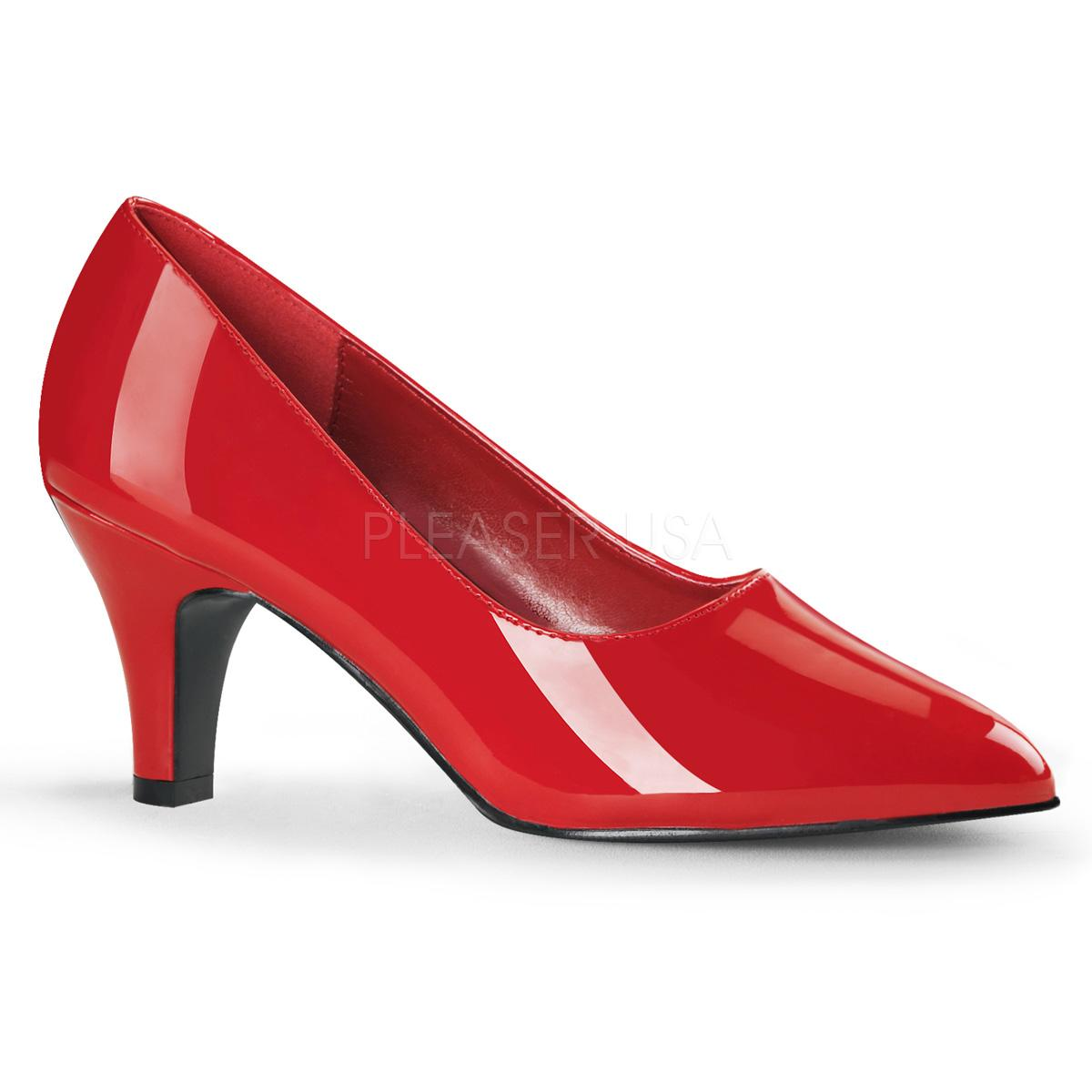 Red Patent Wide Fitting Court Shoe