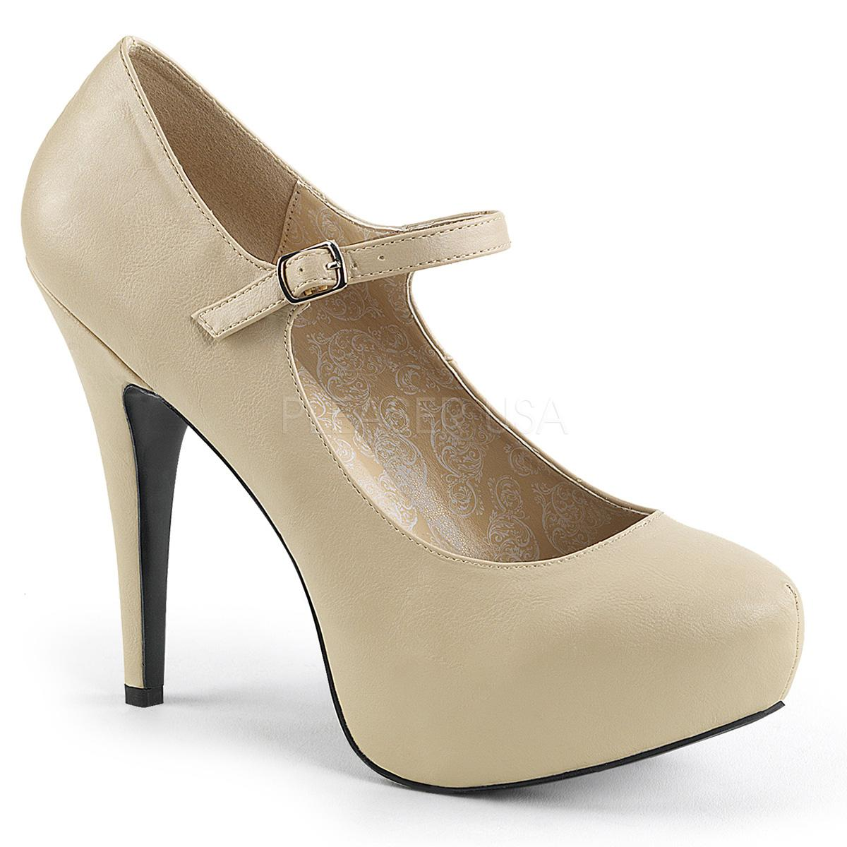 Cream Faux Leather Mary Jane Pumps