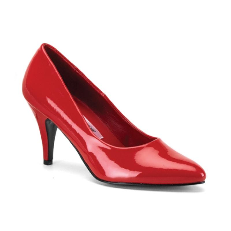 Large fitting Red Patent Court Shoe