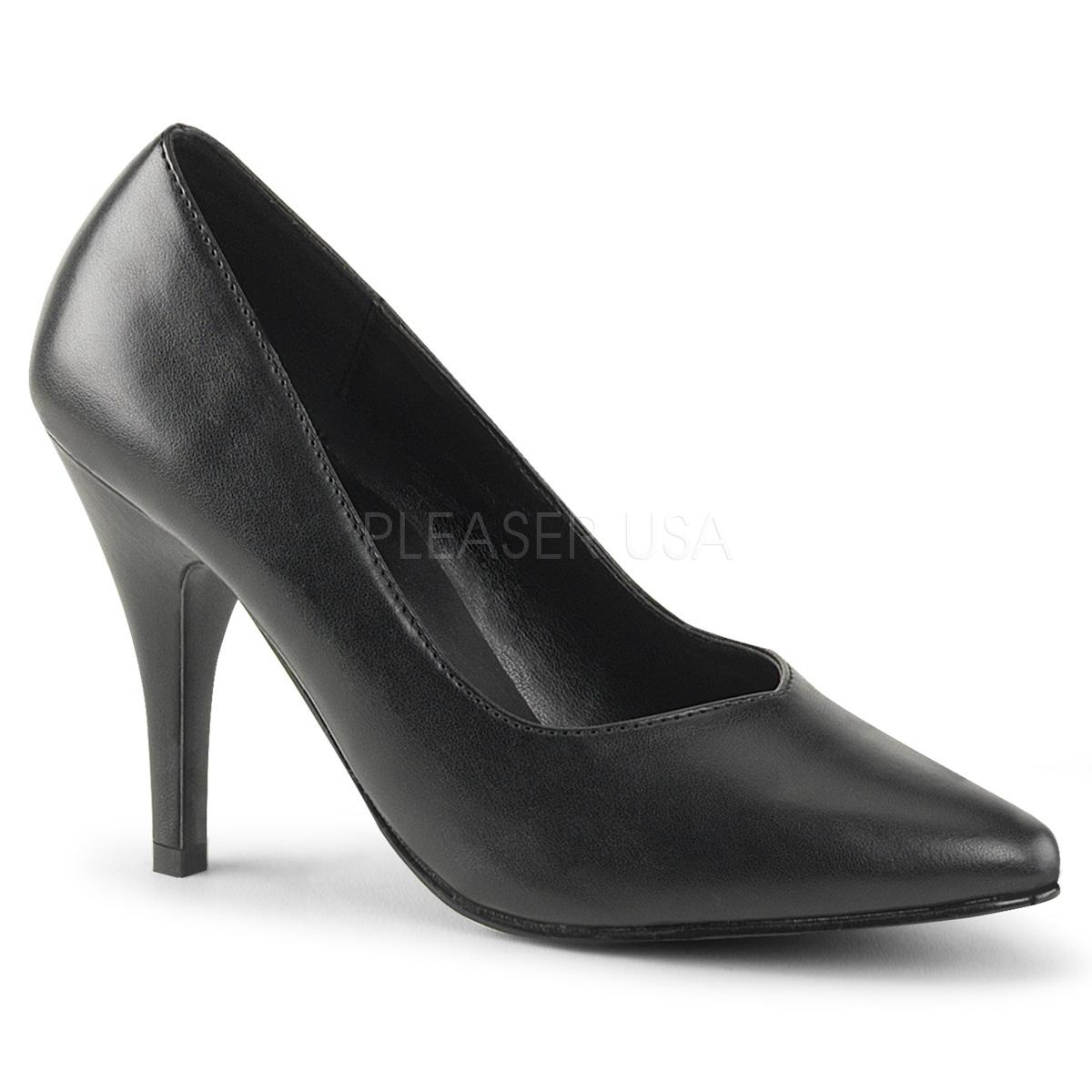 Black Faux Leather Wide Fitting Court Shoe