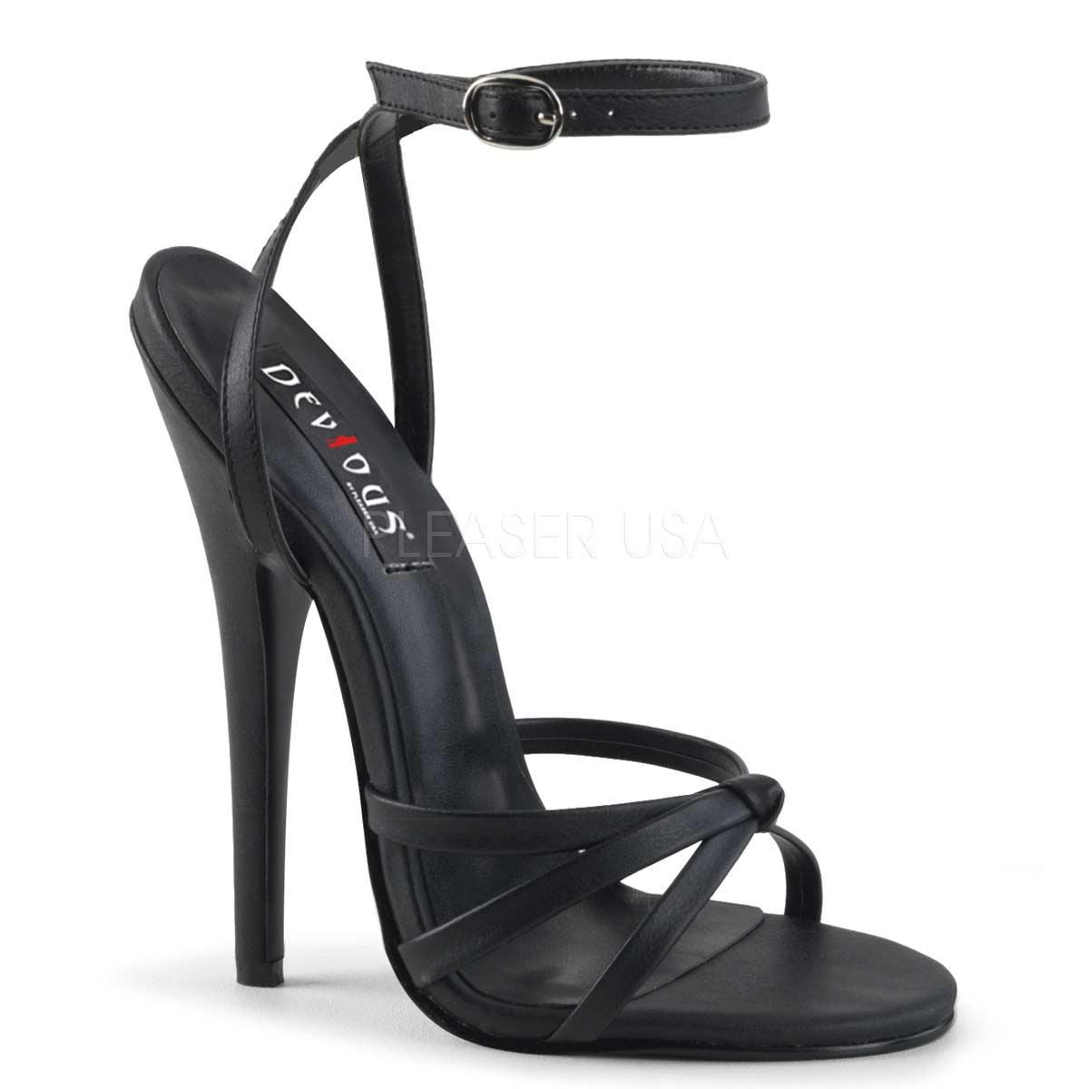 Black PU Ankle Strap Sandals