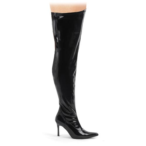 Wide fitting black patent thigh boot