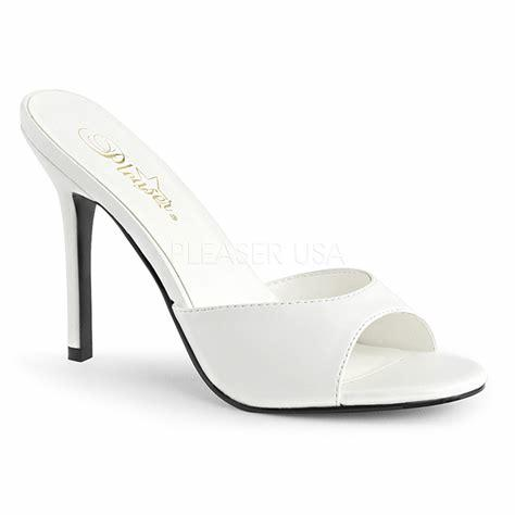 White Faux Leather Open Toe Sandals