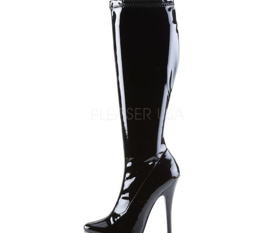 Black Patent Stiletto Knee Boots