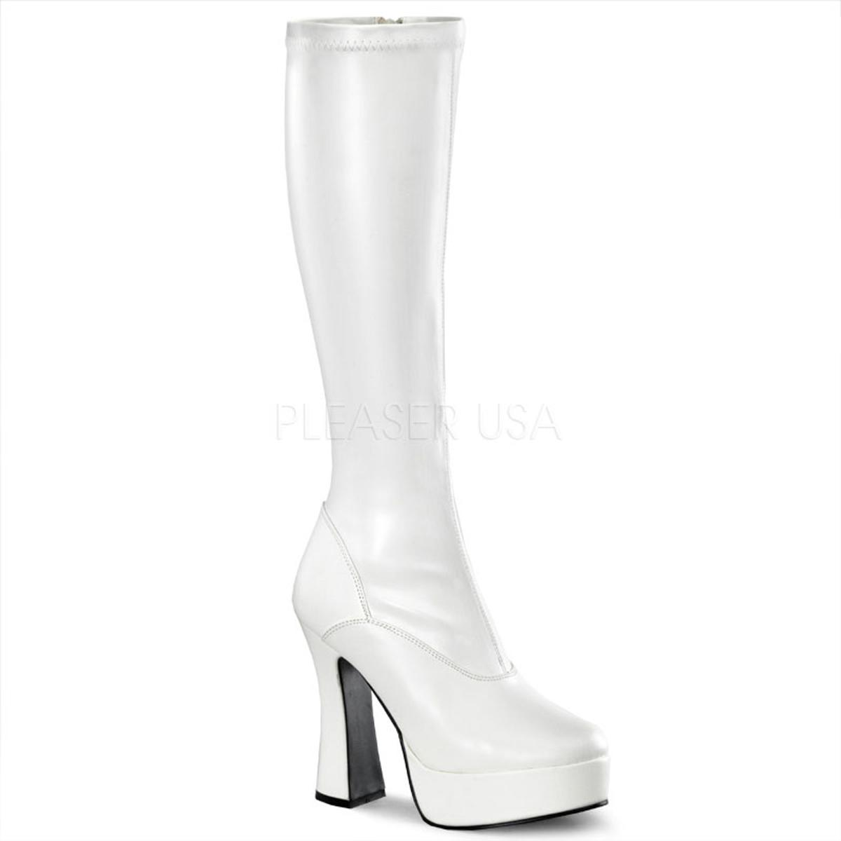 Matt White PU Knee Boot