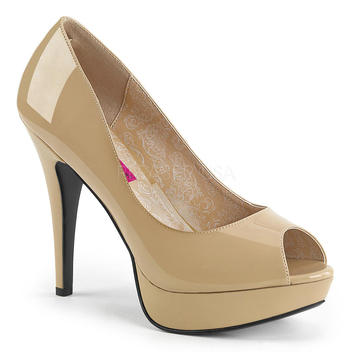 Cream Peep Toe Court Shoe
