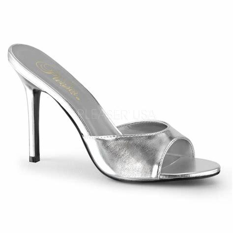 Silver Faux Leather Open Toe Sandals