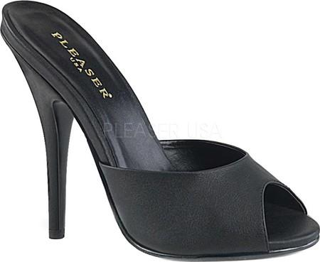 Black PU Peep Toe Mule