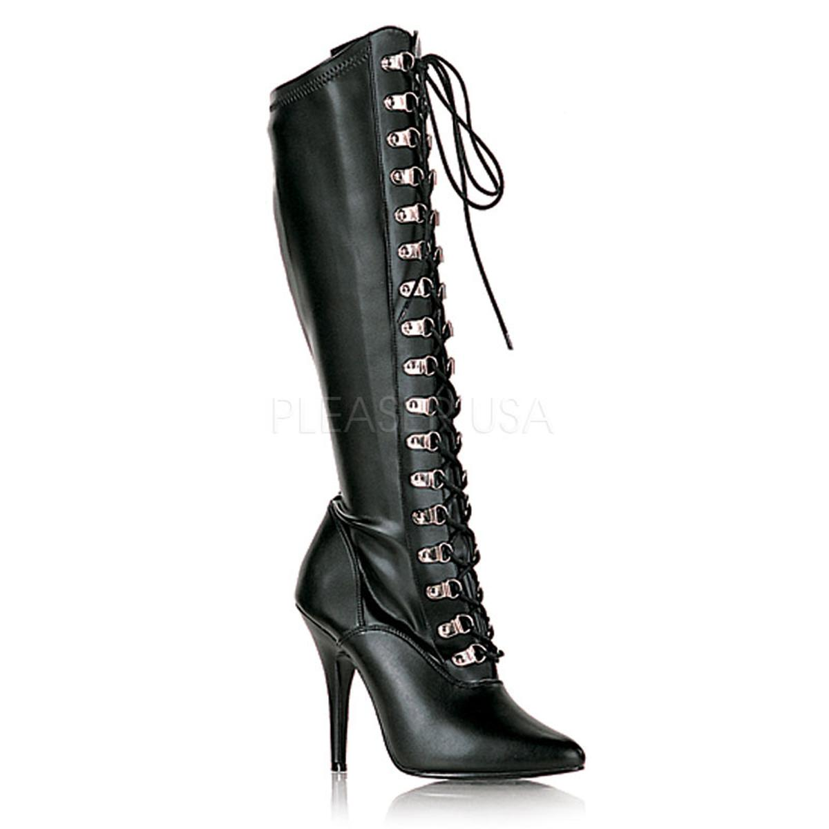 Black Faux Leather Knee Boot