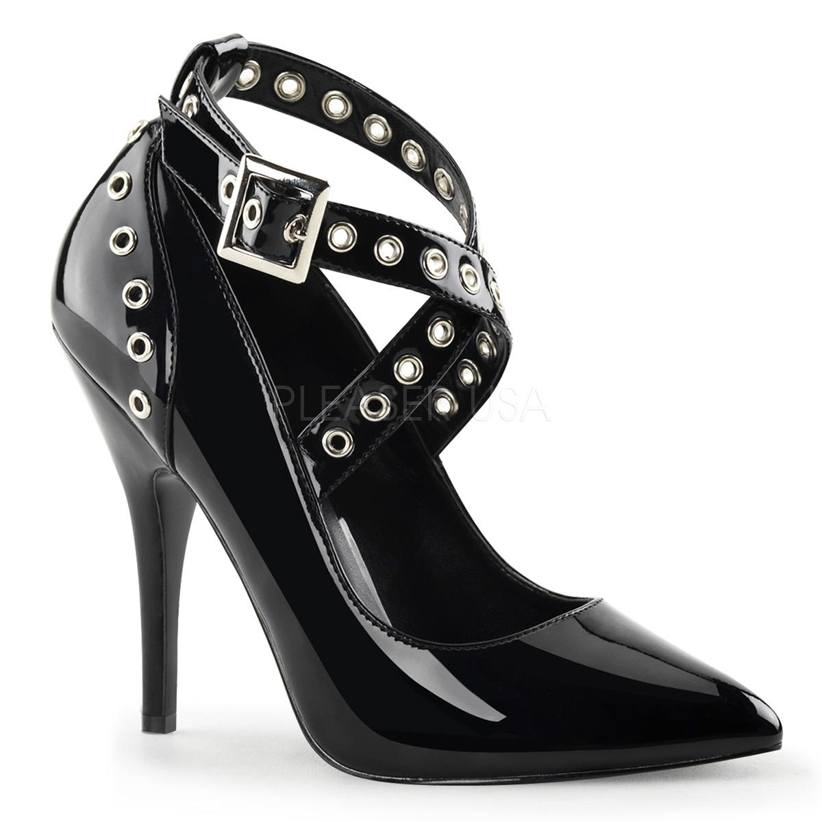 Black Patent Shoe with criss cross straps