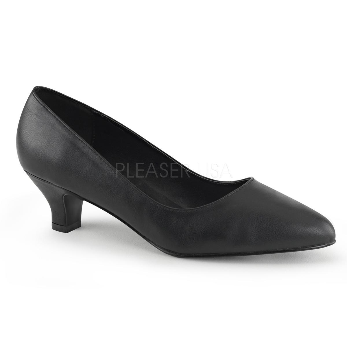 Black Faux Leather Court Shoe