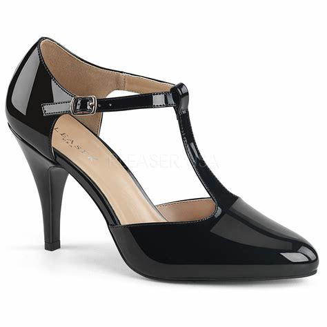 Black Patent T-strap Court Shoe