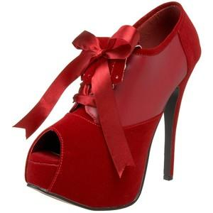 Red Velvet Peep Toe Court Shoe