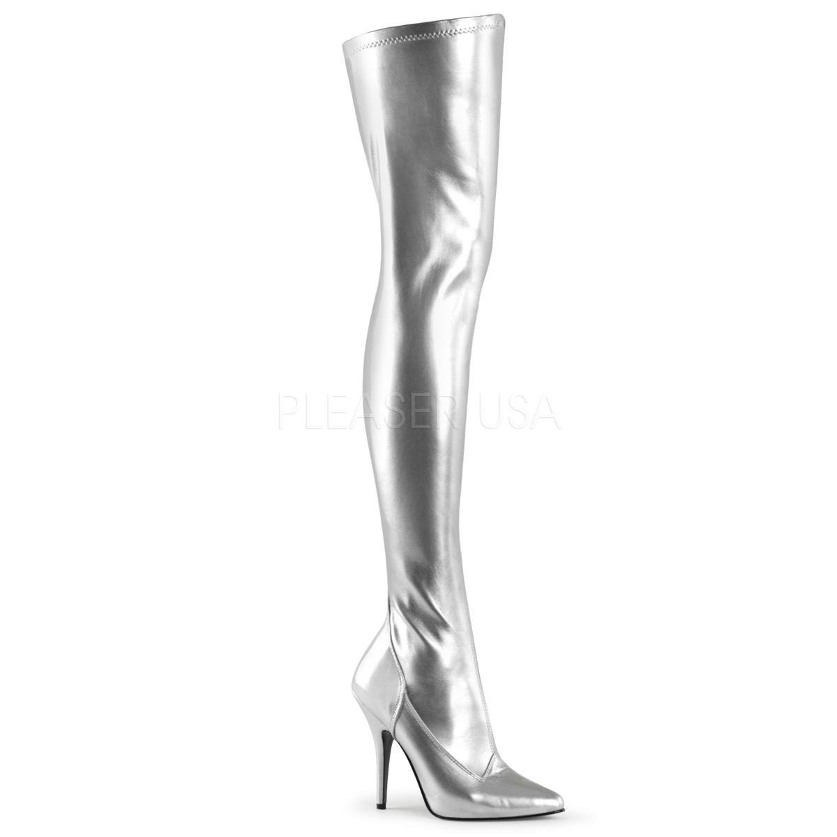 Silver Faux Leather Thigh Boot