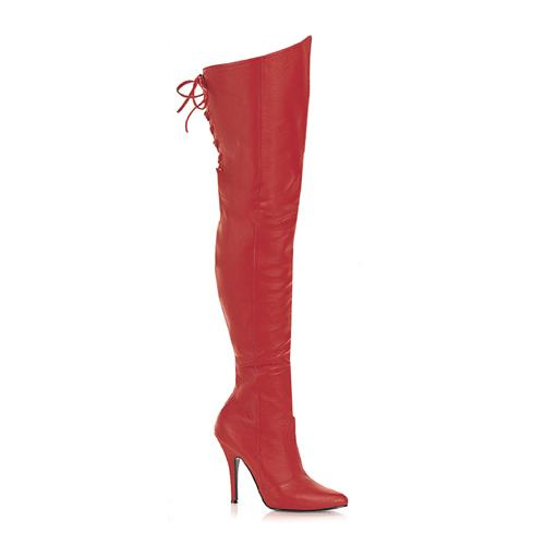 Red Leather Thigh Boot