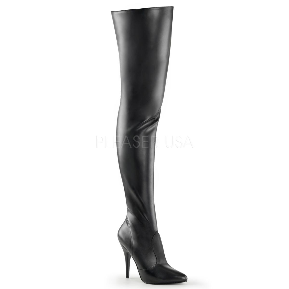 Black Faux Leather Elasticated Thigh Boot
