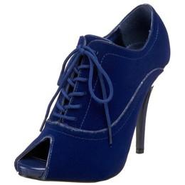 Blue Velvet Peep Toe Shoe