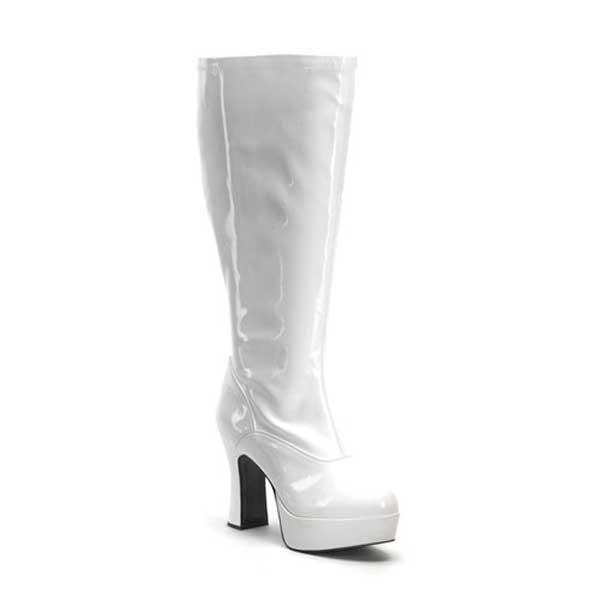 Wide fitting white patent knee boot