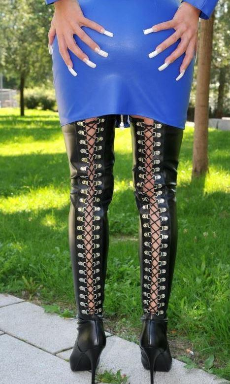 Lace Up Back Thigh Boots