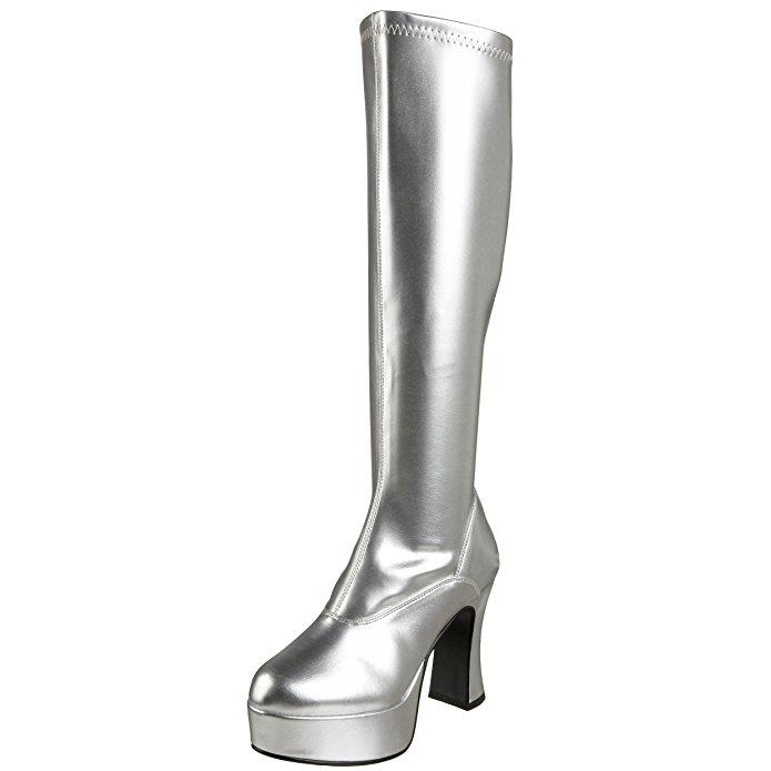 Silver patent knee boot