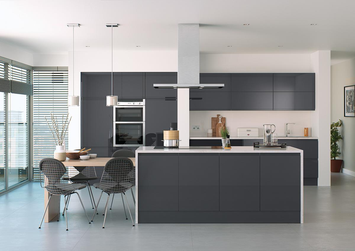 Bibury Anthracite High Gloss Kitchen Cabinet Doors And Fronts