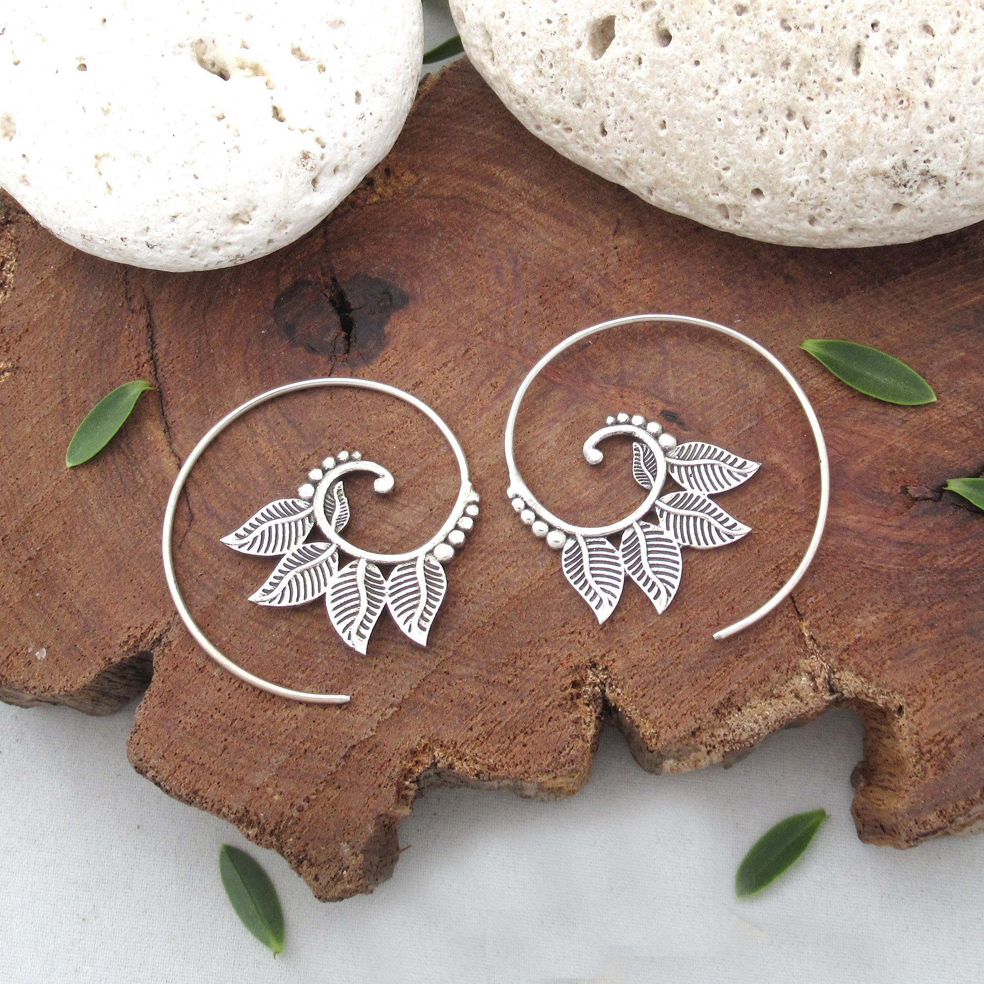 Sterling Silver Spiral Four Leaf Earring