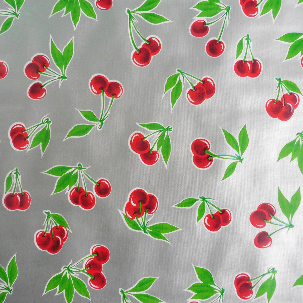 Red Cherry Print on metallic silver Oilcloth