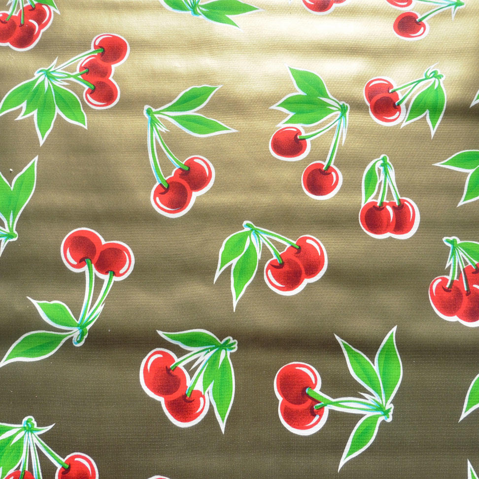 Red Cherry on Gold Metallic Oilcloth