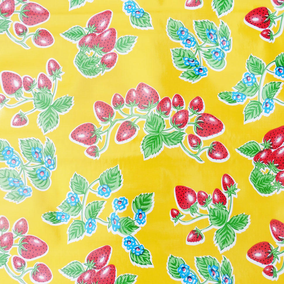 Yellow Strawberry Oilcloth