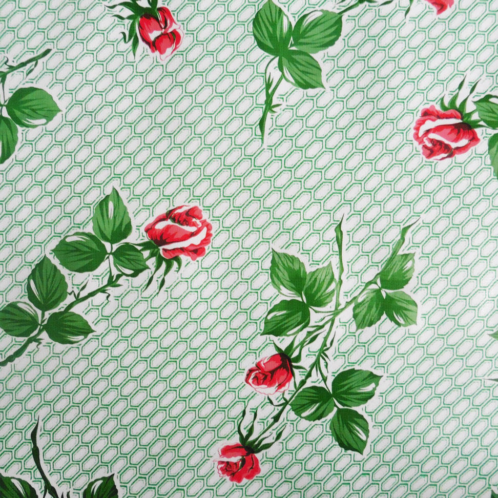 Red Long Stemmed Rose Print on Green Oilcloth