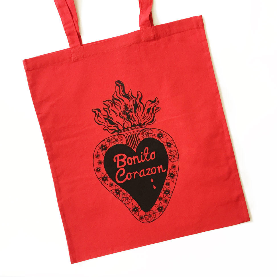 Pretty Heart Tote Bags - Red