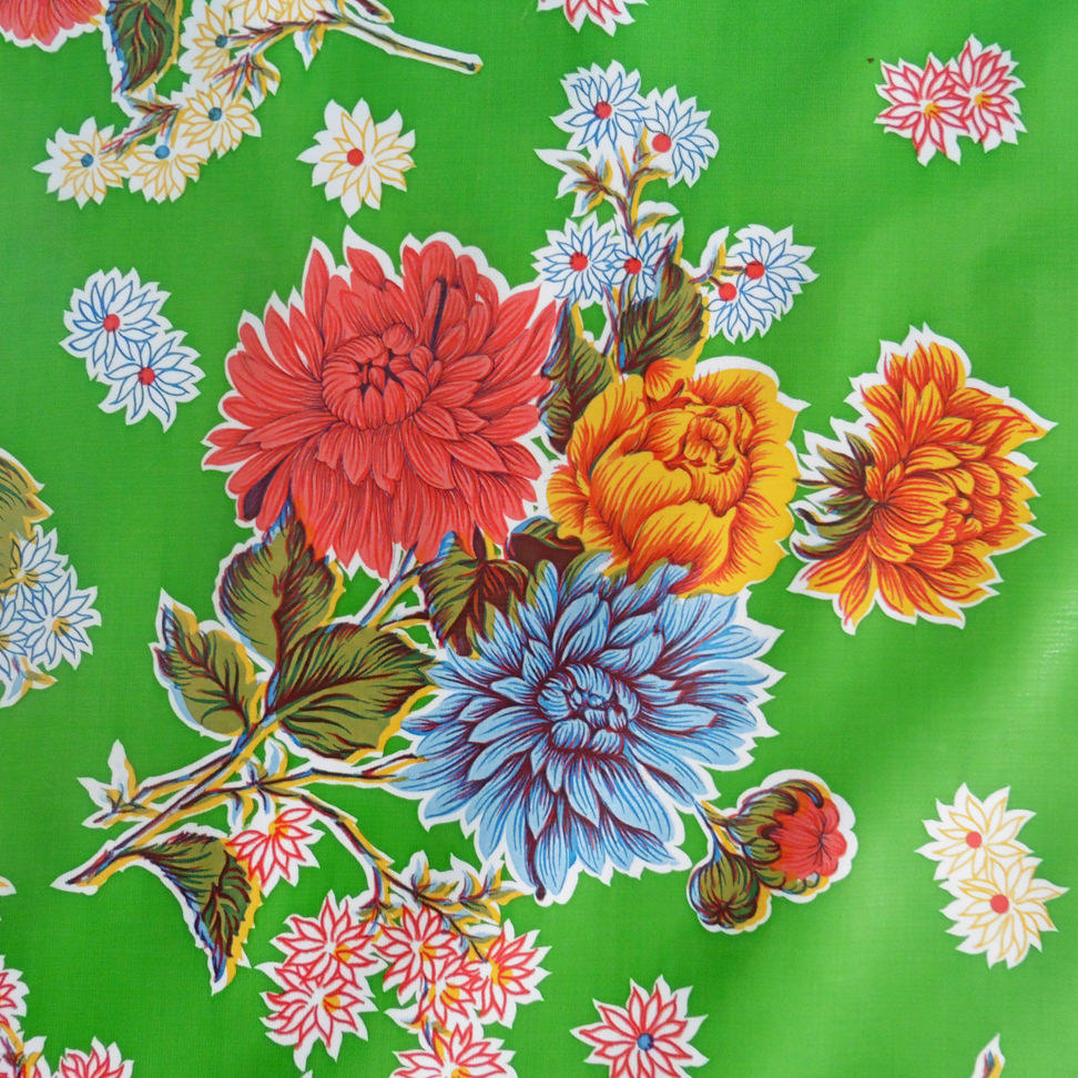 Green Chrysanthemum Oilcloth
